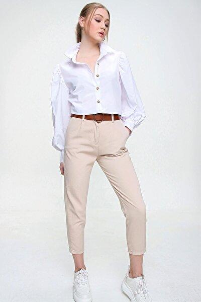 Kadın Kemerli Gabardin Pantolon