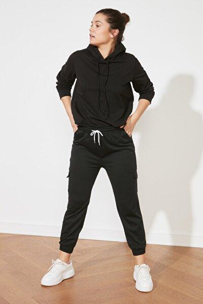 Siyah Kargo Cepli Basic Jogger Örme İnce Eşofman Altı TWOAW20EA0088