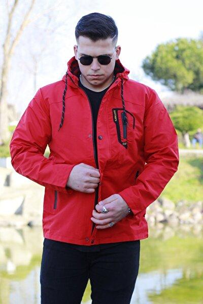 Erkek Kırmızı Cep Detaylı Yağmurluk