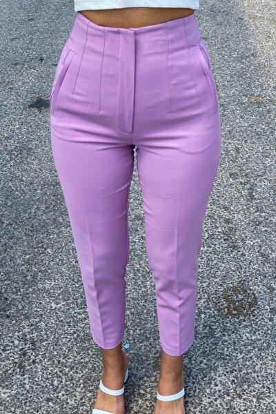 Yüksek Bel Flatolu Lila Pantolon