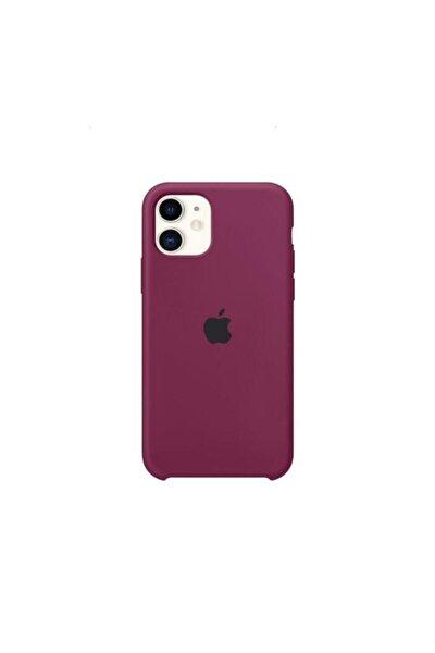 Apple Iphone 12 Promax Logolu Lansman Silikon Kılıf Mürdüm