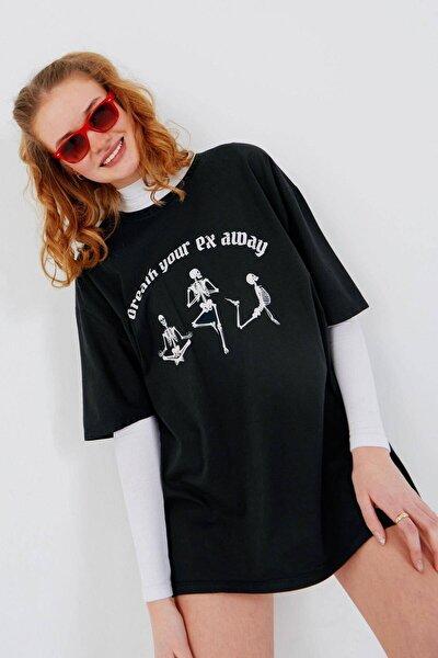 Kadın Füme Baskılı T-Shirt P9526 - W8 Adx-0000023846