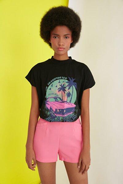 Siyah Baskılı Basic Örme T-Shirt TWOSS21TS1068