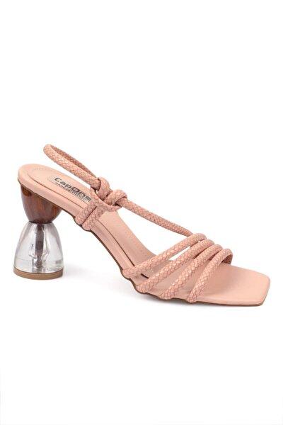 Kadın Pembe Tahta Topuklu Sandalet