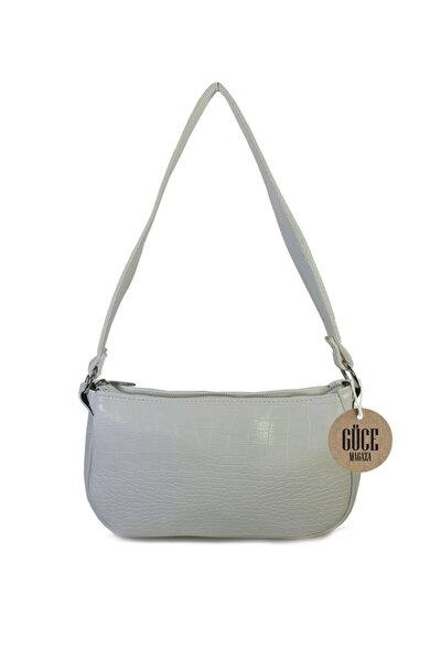 Kadın Beyaz Kroko Desenli Ayarlanabilir Askılı Baget Baguette El Ve Omuz Çantası Gc011701kf