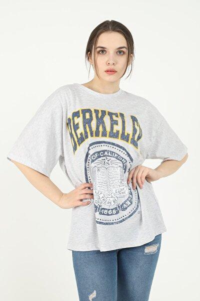 Kadın Gri Berkeley Baskılı Oversize T-shirt