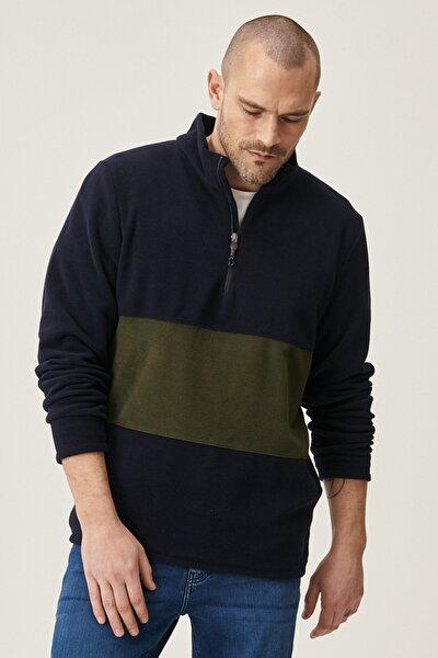 Erkek Lacivert-Haki Standart Fit Günlük Rahat Bato Yaka Polar Sweatshirt