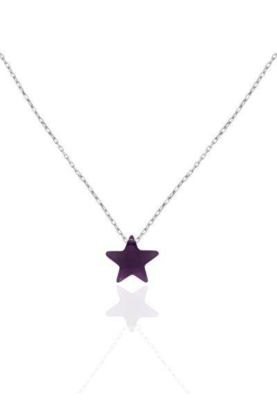 Kadın 925 Ayar Gümüş Mor Yıldız Taş Kolye
