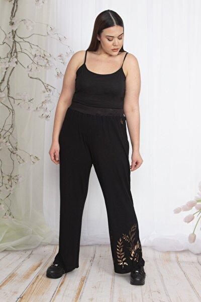 Kadın Siyah Bel Kısmı Lastikli Geniş Paçalı Bakır Baskılı Pantolon 65N22876