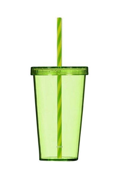 Yeşil Renk Pipetli Bardak 660 Cc
