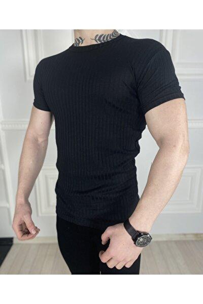 Erkek Siyah Örme Triko Tişört