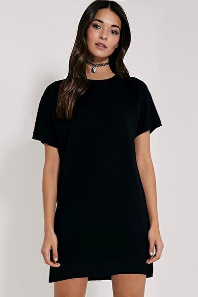 Kadın Siyah Düz, Baskısız Kısa Kollu Penye T-shirt Elbise