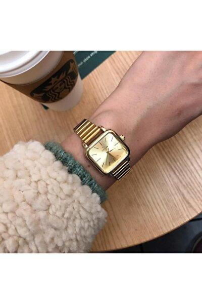 Minimal Kare Altın Kadın Kol Saati
