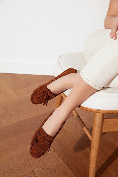 Taba Hakiki Deri Püsküllü Kadın Loafer Ayakkabı TAKSS21LA0001