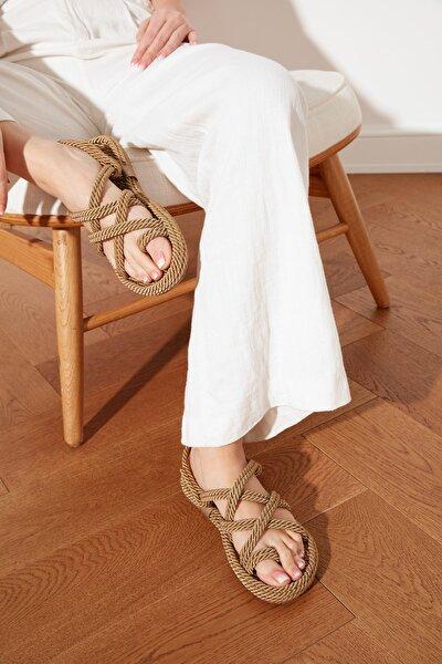 Bej Hasır Halat İpli Kadın Sandalet TAKSS21SD0002