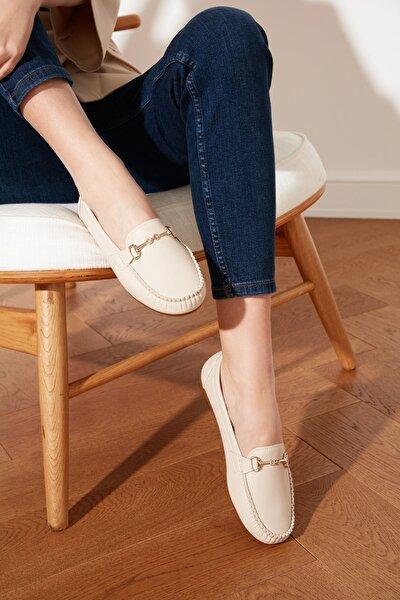 Bej Tokalı Kadın Loafer Ayakkabı TAKSS21LO0001
