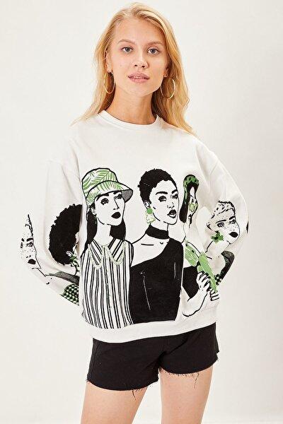 Kadife K��z Baskılı Sweatshirt