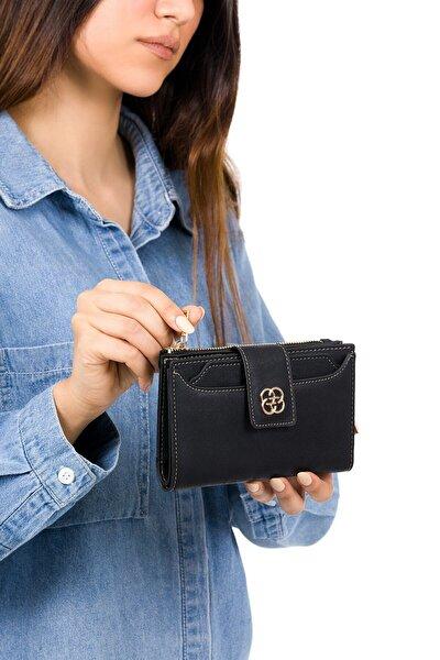 Kadın Siyah Kartlıklı Patlı Mini Cüzdan