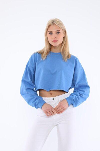 Kadın Mavi Bisiklet Yaka Kısa Sweatshirt