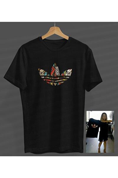 Unisex Kadın-erkek Tasarım Siyah Yuvarlak Yaka T-shirt .