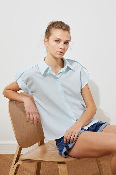 Mavi Kısa Kol Gömlek TWOSS21GO0540