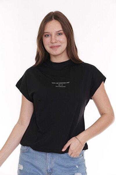 Kadın Basic Baskılı Siyah T-Shirt
