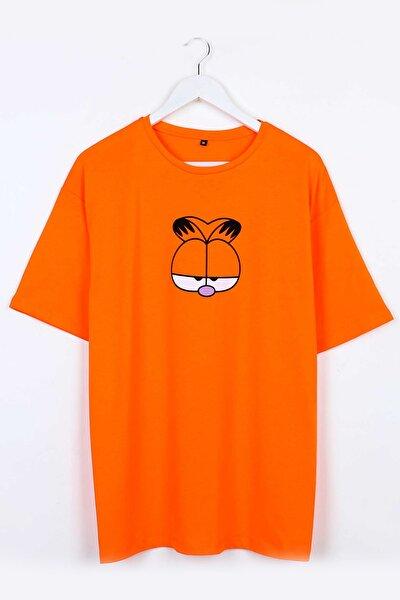 Garfield Baskılı Turuncu Oversize Unisex Tshirt