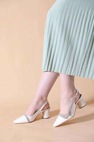 Kadın Beyaz Taşlı Arka Açık Abiye Ayakkabı