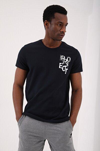 Lacivert Erkek Petek Dokulu Yazı Baskılı Standart Kalıp O Yaka T-shirt - 87923