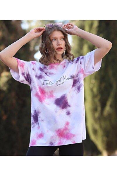 Kadın Pembe Günlük  Koton Rahat Kesim Kısa Kollu Yuvarlak Yaka T-shirt