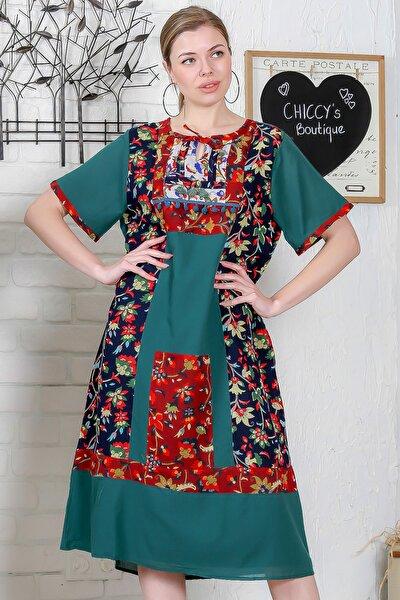 Kadın Yeşil Sıfır Yaka Tülbent Bloklu Astarlı Kısa Kollu Elbise M10160000EL95296