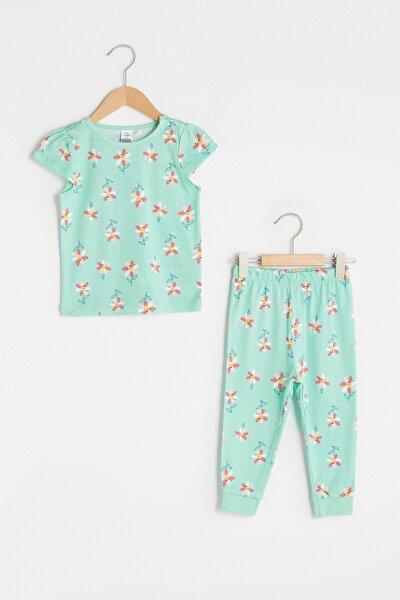 Kız Bebek Nane Yeşili Bask Lrl Pijama Takımı