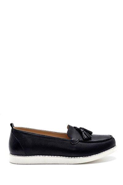 Kadın Siyah Deri Püskül Detaylı Loafer Ayakkabı