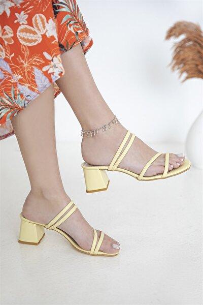 Luke Kadın Topuklu Deri Sandalet Sarı