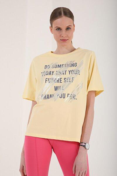 Kadın Açık Sarı Deforme Yazı Baskılı Oversize O Yaka T-shirt - 97133