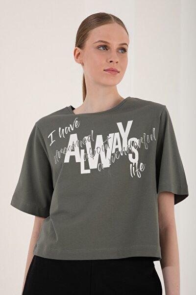 Kadın Çağla Asimetrik Yazı Baskılı Oversize O Yaka T-shirt - 97136