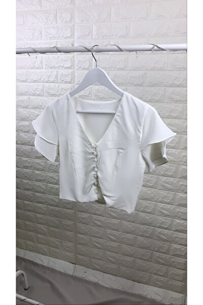 Kadın Beyaz Önü Düğmeli V Yaka Bluz