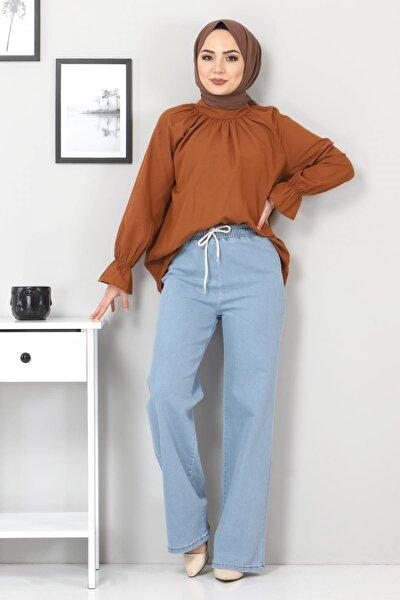Kadın Açık Mavi Beli Lastikli Bol Paça Kot Pantolon Tsd22045
