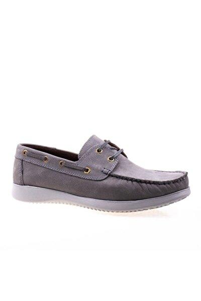 Erkek Gri Hakiki Deri Nubuk Loafer Ayakkabı