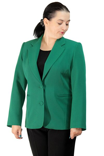 Kadın Yeşil Büyük Beden Düğmeli Klasik Ceket