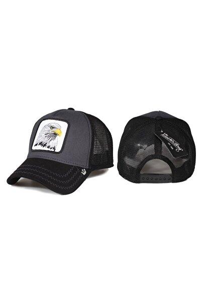 Kartal Hayvan Desenli Şapka Siyah Antrasit
