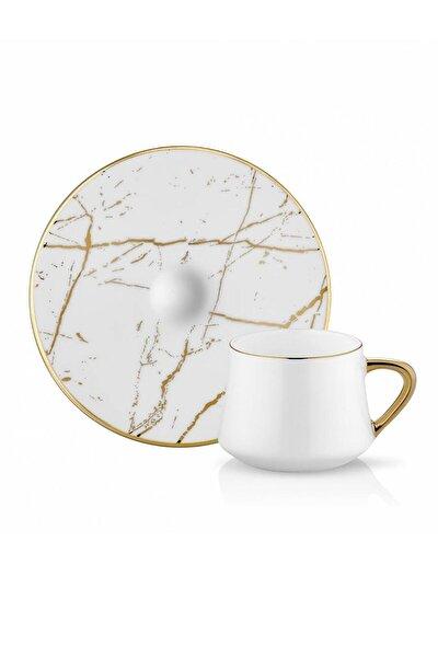 Koleksiyon Sufi Türk Kahve Seti 6lı Mermer Beyaz Altın
