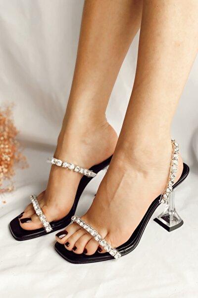 Kadın Siyah Taşlı Şeffaf Topuk Terlik Sandalet