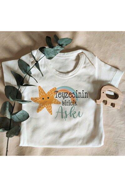 Unisex Teyzesinin Biricik Aşkı Yazılı Kısa Kol Organik Bebek Body Zıbın