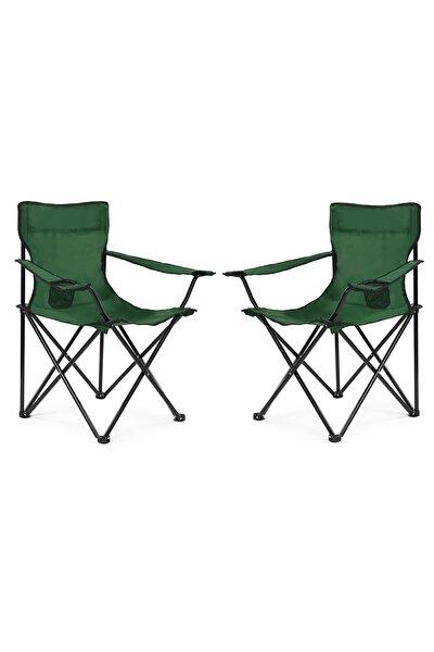 2 Li Katlanabilir Kamp Sandalyesi Piknik Sandalyesi Plaj Sandalyesi Yeşil Taşıma Çantalı