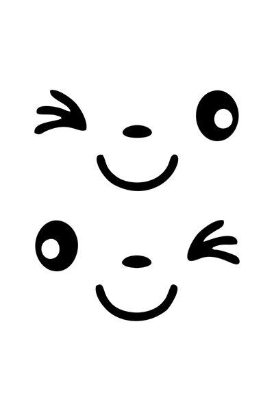 2 Adet Siyah Yan Ayna Gülen Yüz Sticker