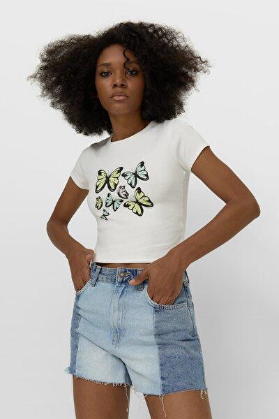 Kadın 70'ler Desenli T-shirt