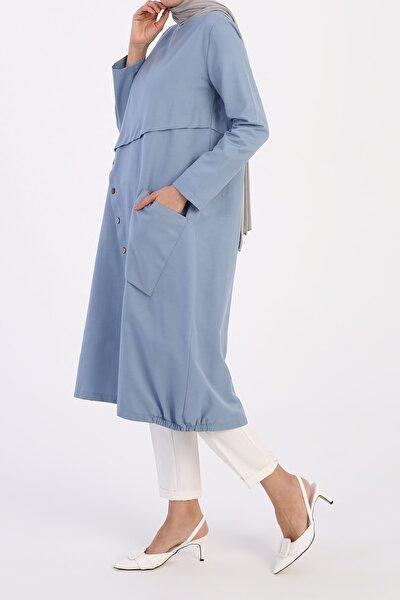 Kadın Mavi Düğme Detaylı Tunik