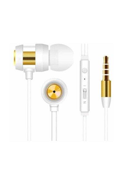 Sn-j01 Mobil Telefon Uyumlu Beyaz/gold Mikrofonlu Kulaklık