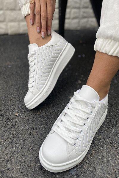 Kadın Beyaz Cilt Kenarları Dikişli Sneaker
